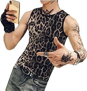 Romancly メンズレオパルドストレッチスリムカジュアルOネックノースリーブタンクトップTシャツ