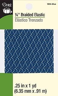 Dritz 9394-Blue Braided Elastic, 1/4-Inch by 1-Yard, Blue Multi