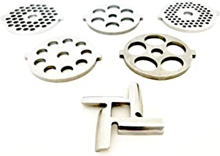 PurrsianKitty 6 Piece Stainless Steel Meat Grinder Plate Discs Blades Replacement for Kitchenaid Mixer FGA Chopper Attachment