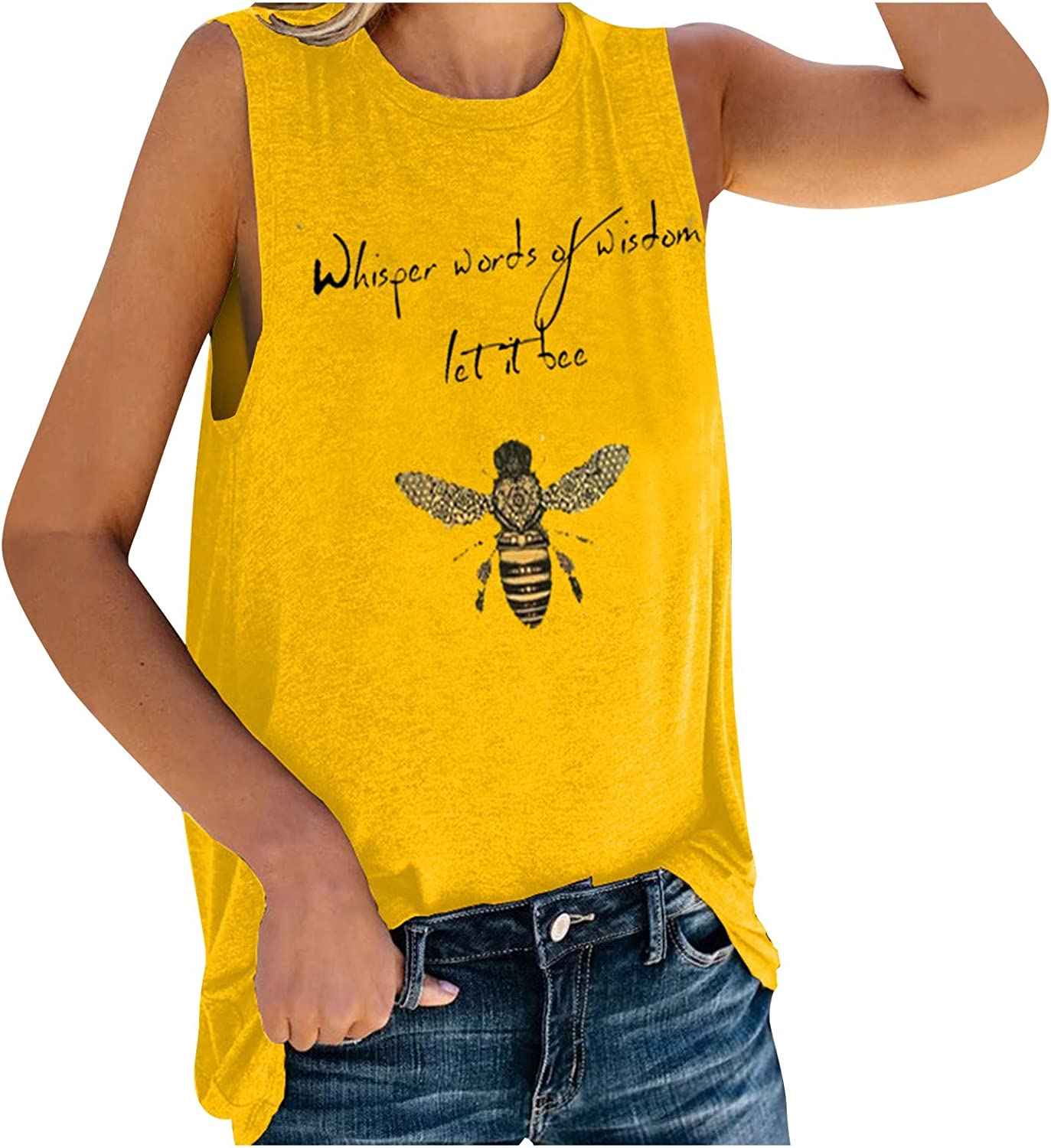 Euone_Clothes Shirts for Women Sexy Casual, 2021 let it bee Women's Printed Round Neck Vest Tank Camis Top Blouse