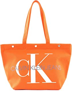 Calvin Klein Canvas Utility EW Bottom Tote M Orangeade