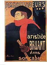 Ambassadeurs: Aristide Bruant, 1892 by Henri de Toulouse-Lautrec Art Print, 24 x 32 inches