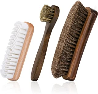 Foloda Shoe Brush with Horsehair Bristles,Dauber Suede Brush for Leather, Boot