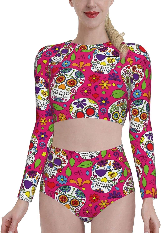 Sugar Skull Dia De Los Muertos Women's Two Piece Swimsuit Long Sleeve Rash Guard Swimwear (p45)