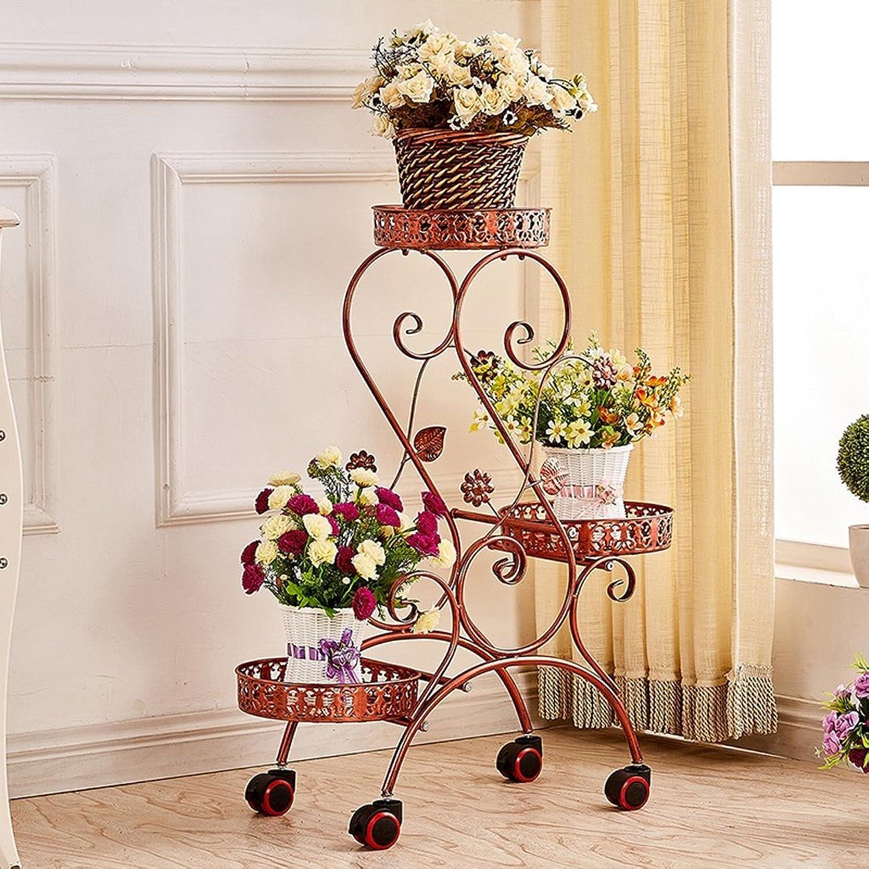 Flower Stand Shelf Multi Layer Movable Push-Pull Flower Pot Rack with wheels Flower Diaplay Shelf Living Room Balcony Flower Shelf (color   Red Copper)