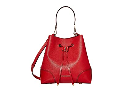 MICHAEL Michael Kors Mercer Gallery Medium Convertible Bucket Shoulder (Bright Red) Shoulder Handbags