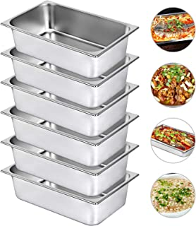 Mophorn 6 Inch Deep Steam Table Pan Full Size 21 Quart Stainless Steel Anti Jam Steam Table Pan Set of 6 Food Pans