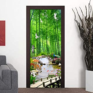3D Door StickerDecal Mural Self-Adhesive Bamboo Forest Scenery Poster Photo Wallpaper Removable PVC Waterproof Decor Art Bathroom Space Bedroom 77X200Cm,Hph3D