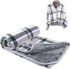 forestfish Warm Plaid Flannel Blankets Lightweight Throws for Lap Bed Sofa Office, Grey-White