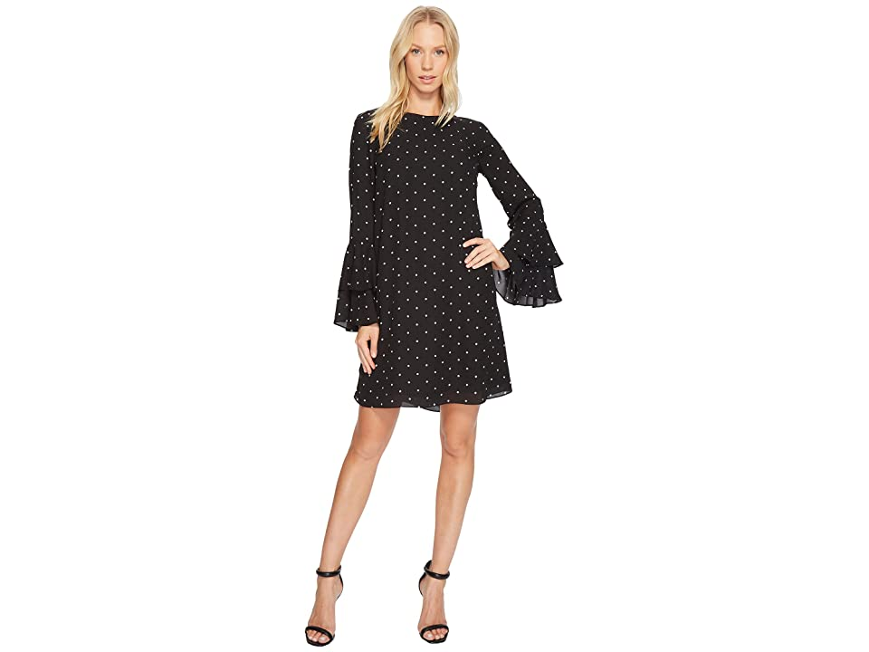 CeCe Bell Sleeve Gallery Polka Dots Dress (Rich Black) Women
