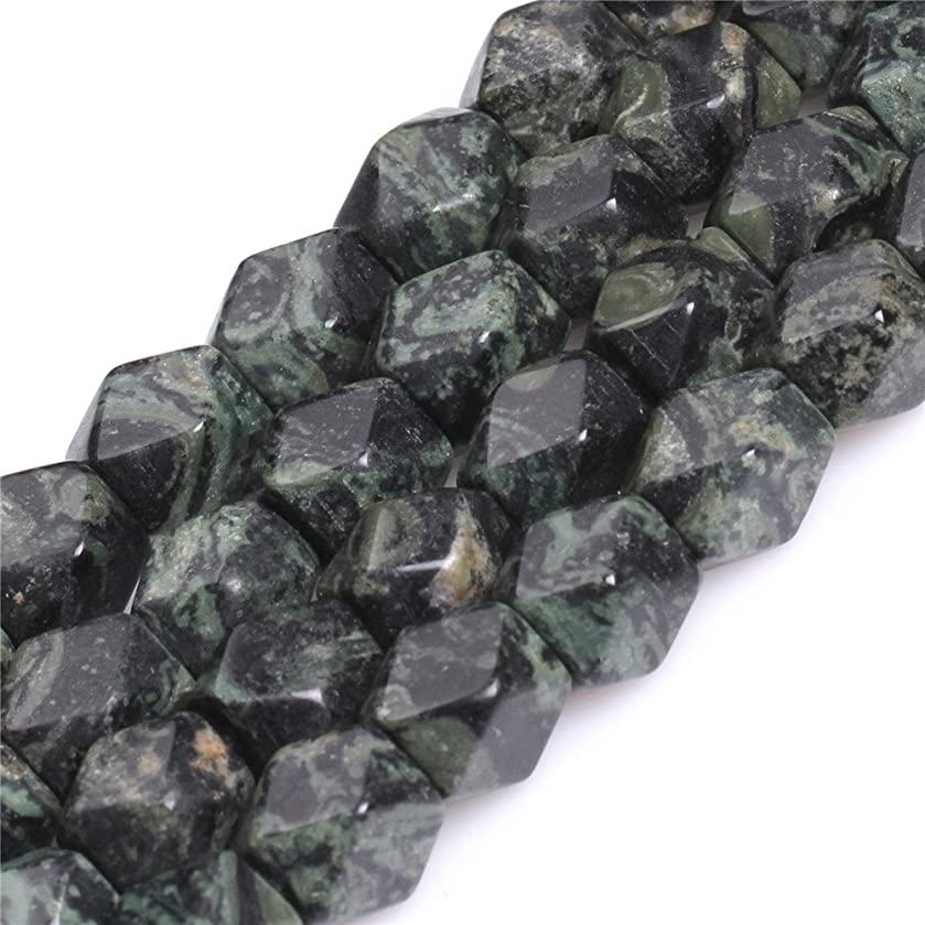 Kambaba Jasper Beads for Jewelry Making Natural Semi Precious Gemstone Facete Cube 9x11mm Strand 15