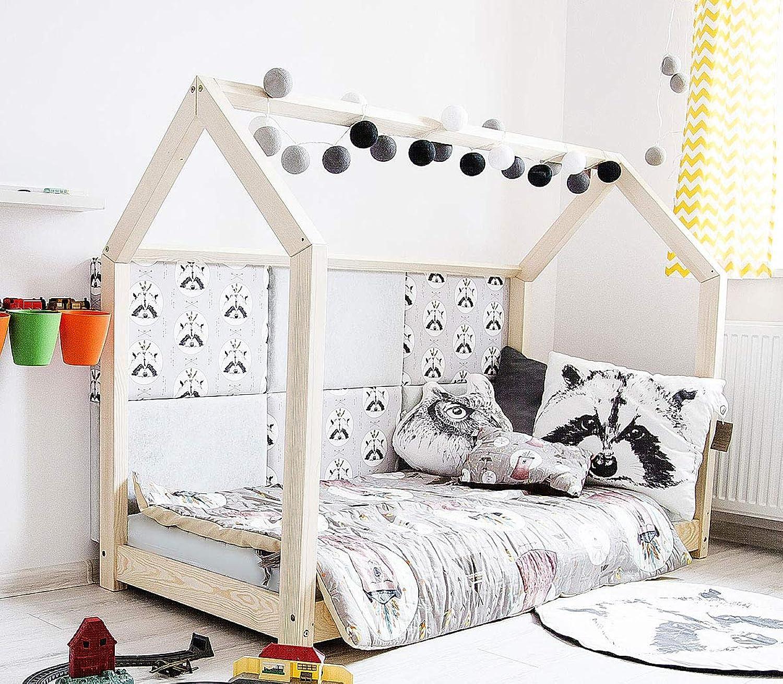 Best For Kids Hausbett Kinderbett Kinderhaus Jugendbett Natur Haus Holz Bett in viele Gren 60x120cm-160x200 cm(160x200cm)