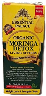 Organic Moringa Detox Living Bitters Anti-INFLAMMATORY, in Glass for Eyes/Asthma/Kidney/Diabetes/Weight Loss/Cancer/Immunity/DETOXIFICATION/Blood/Heart/Sexual ENHANCEMENTS (8 oz (1 Bottle))