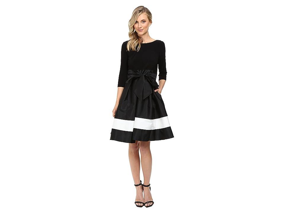 Adrianna Papell Color Blocked Taffeta Flared Skirt Dress (Black/Ivory) Women