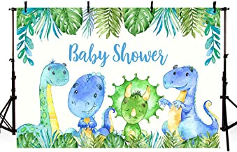 MEHOFOTO Dinosaurs Boy Baby Shower Photo Studio Background Safari Jungle Wild Green Palm Leaves It's A boy Party Decoration Banner Backdrop for Photography 7x5ft