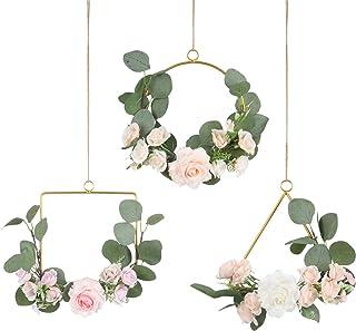 Pauwer Floral Hoop Wreath Set of 3 Artificial Rose Flowers and Eucalyptus Garland Metal Ring Wreath Hanging for Wedding Nu...