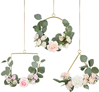 Pauwer Floral Hoop Wreath Set of 3 Artificial Rose Flowers and Eucalyptus Garland Metal Ring Wreath Hanging for Wedding Nursery Wall Decor (Mix Color Rose)