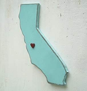 Pick Your SIZE California wood state wall art with heart