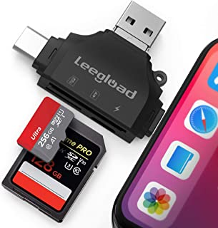 SD Card Reader for iPhone/iPad/Android/Computer,Digital Camera 4 in 1 SD Reader Adapter,Memory Card Adapter with Lightning...
