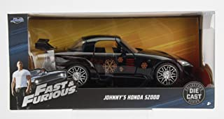 Fast & Furious New 1:24 W/B JADA Collection - Johnny's 2001 Honda S2000 Black Movie Diecast Model Car by Jada Toys