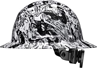 Cool Full Brim Pyramex Hard Hat, Hydrodipped Black and White Sexy Babes Girls Money Game Tattoo Design Safety Helmet 6pt, by AcerPal
