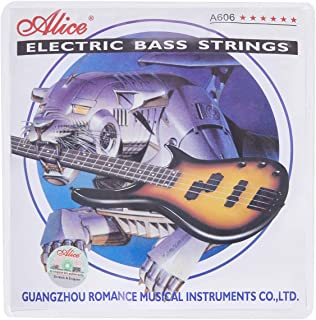 Alice Electric Bass Guitar Strings 4-string Sets Medium .045-.105, Nickel Alloy Winding Strings with Nickel-Plated Ball-End for Electric Basses