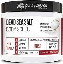 pureSCRUBS Premium Organic Body Scrub Set - Large 16oz ROSE BODY SCRUB - Dead Sea Salt Infused with Organic Essential Oils...