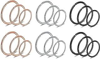 JININA Helix Piercing Hoops 18G 20G Nose Rings Hoop Tragus Snug Earlobe Hoop Earrings 8mm 10mm 12mm