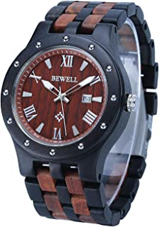 Wooden Watch with Luminous & Date Display Japanese Quartz Movement Casual Wristwatch for Men