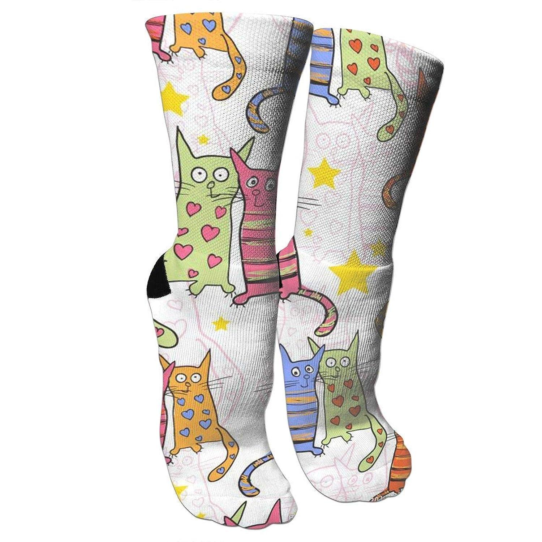 靴下 抗菌防臭 ソックス カートゥーン恋人猫スポーツスポーツソックス、旅行&フライトソックス、塗装アートファニーソックス30センチメートル長い靴下