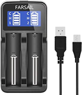 18650 Charger, FARSAIL Rechargeable Battery Charger Compatible with 3.7V Lithium ion 18650 18350 18500 RCR123A 18490 17670 17500 and NiMH/NiCd AA AAA Rechargeable Batteries with USB Charging Cable
