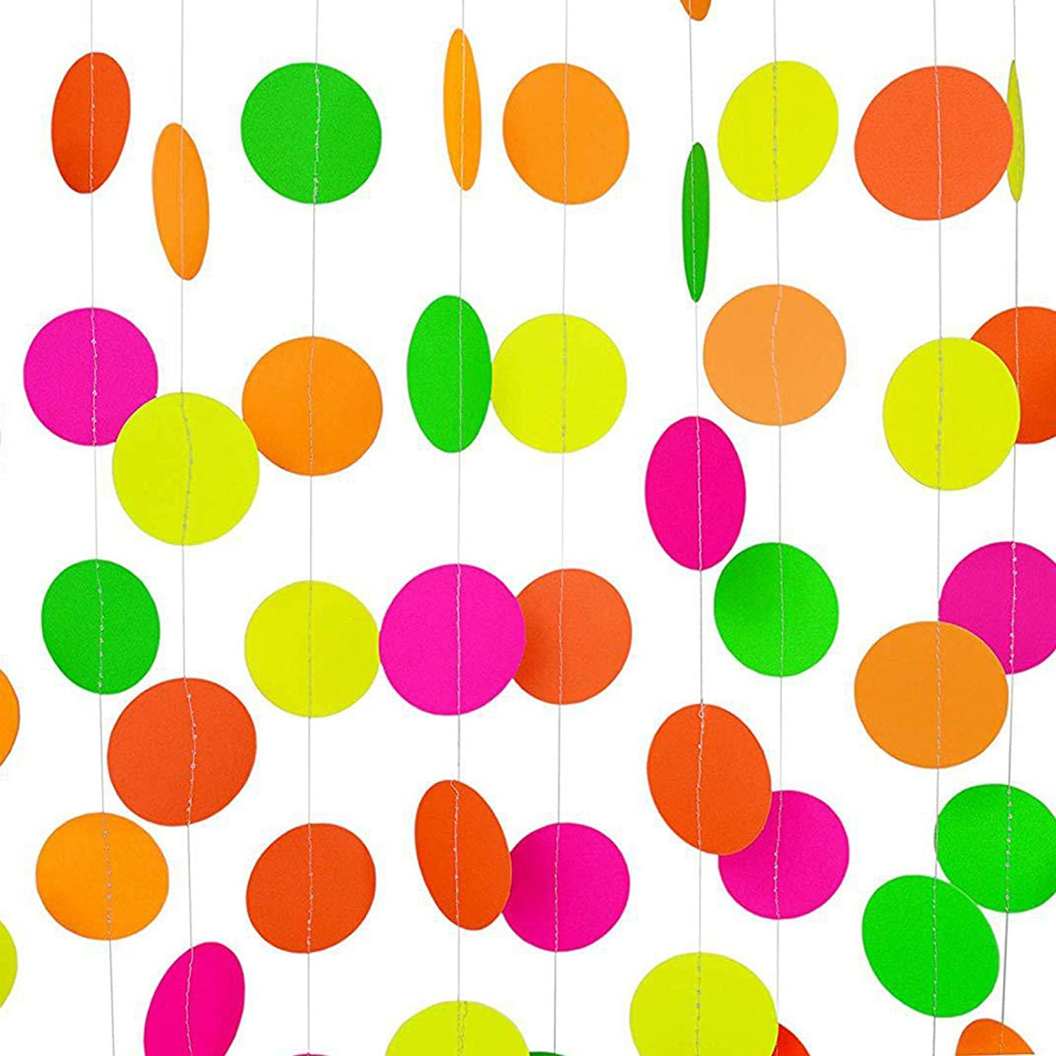 Hanging Decorations Glow in The Dark CALIDAKA Black Light Neon Star Circle Dots Party Supply Tapes Banner Garden Halloween
