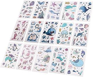 Beaupretty 15 Vellen Kinderen Zee Dier Tattoo Stickers Tropische Vissen Walvis Tijdelijke Tatoeages Voor Meisjes Kids Verj...