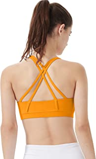 LDsports Women's Padded Yoga Sports Bra Strappy Back Activewear for Women with Removable Cups