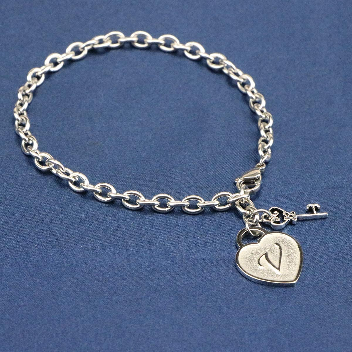 Joycuff Heart Initial Bracelets for Women Letter Charm Chain Stainless Steel Jewelry Birthday for Girl Daugther