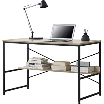 en.casa 120 x 60 x 72 cm Black Office Desk Workstation
