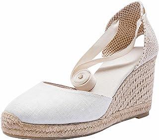 SimpleC Alpargatas con tacón de cuña de Denim clásico para Mujer con Tiras con Cordones, Sandalias de Mezclilla de Verano
