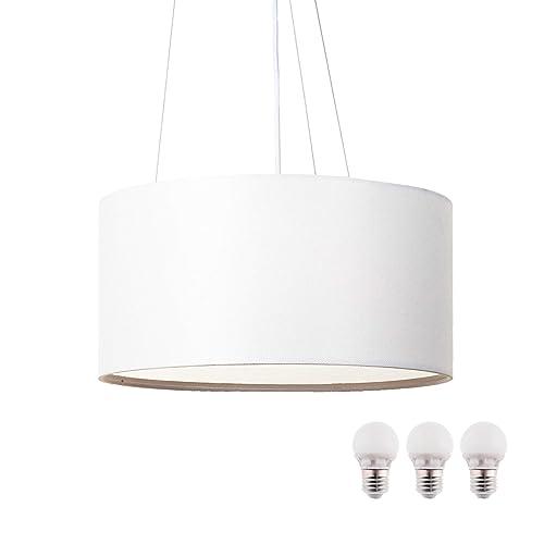 SEBSON® Lampara Colgante techo tela, blanco, incl. 3x E27 bombilla 5W LED