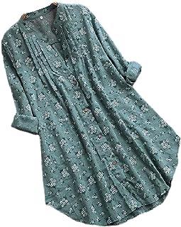 UUYUK المرأة طويلة الأكمام طباعة الأزهار القطن الكتان زر أسفل القمصان بلوزة