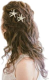 Barogirl Wedding Starfish Hair Pins Decorative Bridal Hairpin Set Beaded Hair Accessories Beach Wedding Hair Jewelry for Women and Girls 2 PCS (Silver)