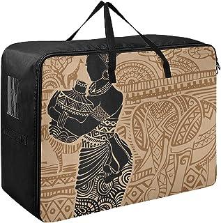 Sacs de rangement à fermeture éclair en tissu africain belle femme dessinée portrait enfants vêtements organisateur pour c...