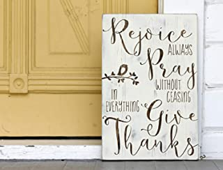 Susie85Electra Rejoice Always Pray Without Ceasing Give Thanks Hand Painted Wood Sign Rustic Wall Decor Christian Wall Art 10.5 X 16