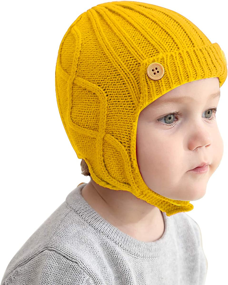 Queen.Y Baby Warm Hat,Bonnet Toddler Winter Warm Knitted Earflap Beanie Hat Warm Cap Hat Beanie Earflap Hats for 1 to 3 Years