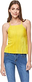 Bershka Cami & Strappy Tops For Women, Gold XS
