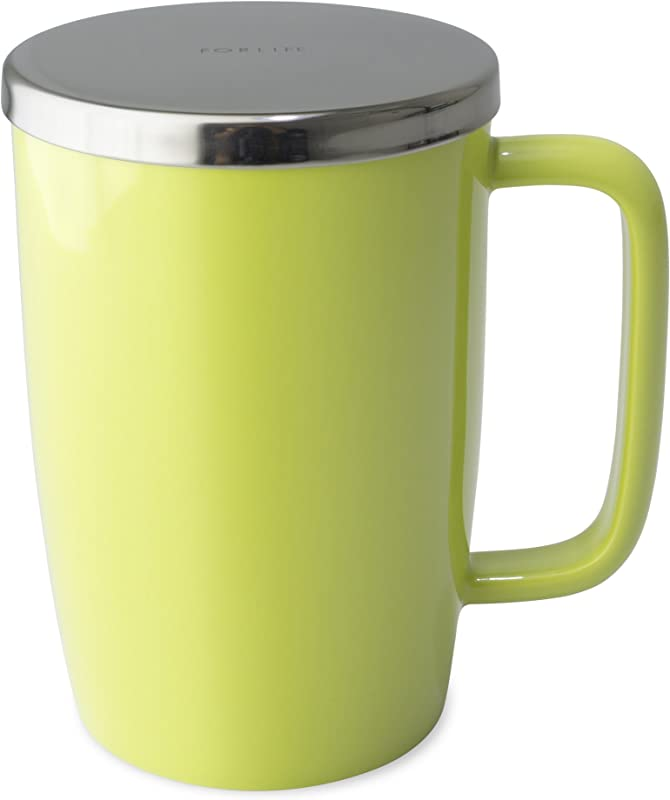 FORLIFE Dew Glossy Finish Brew In Mug With Basket Infuser Mirror Stainless Lid 18 Oz Lime