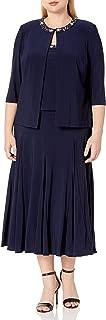 Women's Plus Size Tea Length Jacket Dress with Sequin Beaded Trim
