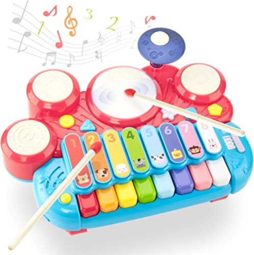 Jouets pour Enfants 2 Ans, 5 en 1 Table de Xylophone Musique Jouets Multifonctions pour Filles Garçons, Clavier de Pi...