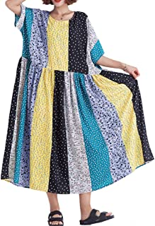Mordenmiss Women's Cotton Linen Dress Floral Printed Pleated Dress Cover