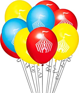 """18 pcs Circus Tent Themed 12"""" Latex Carnival Party Balloons with 32 ft White Curling Ribbon"""