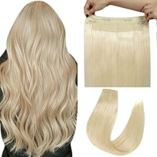 """Coolpop Halo Hair Extensions Real Human Hair Platinum Blonde 24"""" 3.85OZ Hairpieces for Women Invisible Wire Fish Line Hair..."""